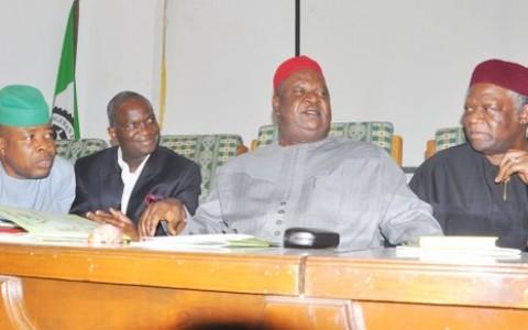 Lagos State Governor, Mr. Babatunde Fashola SAN (2nd left Secretary to the Government of the Federation, Senator Anyim Pius Anyim (2nd right), Chairman of the occasion, Senator Ike Nwachukwu (right), Deputy Speaker House of Representatives, Hon. Emeka Ihedioha