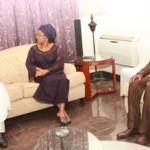 Mr. Babatunde Fashola condoling with widow of Late Vice Admiral Mike Akhigbe, Mrs Josephine Akhigbe and son, Ikhane Akhigbe