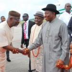 Senator Liyel  Imoke, Dr. Emmanuel Uduagha  welcoming President Goodluck Jonathan