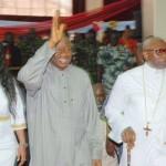 Helen Orishejafor, President Goodluck Jonathan  and Pastor Ayo Orishejafor arriving his church