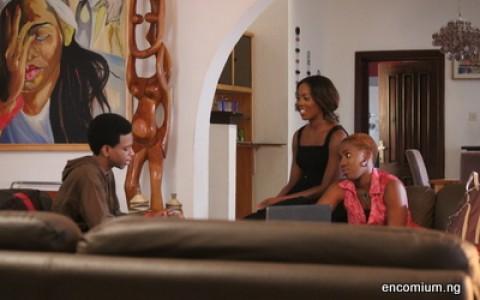 Olumide Oworu as Weki, Tiwa Savage as Sade and Ugbeye Owumi as Bikiya in Shuga Series 3
