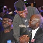 Lagos State Governor, Mr. Babatunde Fashola, SAN (right), All Progressive Congress Governorship Candidate, Delta State, Olorogun Otega Emerhor (middle), and former Governor of Ekiti State, Otunba Niyi Adebayo (left),