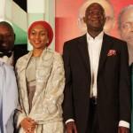 Lagos State Governor, Mr. Babatunde Fashola, SAN (2nd right), All Progressives Congress Governorship Candidate, Kaduna State Mallam Nasir El-Rufai (left), daughters of General Muhammadu Buhari, Safina Buhari (2nd left), and Halima Buhari (right),