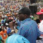 Lagos State Governor, Mr. Babatunde Fashola, SAN (right), addressing the party faithful