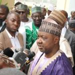 Vice President Namadi Sambo answering questions from newsmen