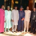 CHAIRMAN, NIGERIA CHRISTIAN PILGRIM COMMISSION/PRIMATE CHURCH OF NIGERIA (ANGLICAN COMMUNION), MOST REVD NICHOLAS OKOH; VICE-PRESIDENT NAMADI SAMBO; PRESIDENT GOODLUCK JONATHAN; LEADER OF THE FEDERAL GOVERNMENT DELEGATION/PRESIDENT, CHRISTIAN ASSOCIATION OF NIGERIA (CAN) PASTOR AYO ORITSEJAFOR AND EXECUTIVE SECRETARY, NIGERIA CHRISTIAN PILGRIMS COMMISSION, MR JOHNKENNEDY OPARA AT THE SUBMISSION OF REPORT OF THE 2014 CHRISTIAN PILGRIMAGE TO PRESIDENT JONATHAN ON