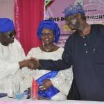 Lagos State Governor, Mr. Babatunde Fashola, SAN (right), Head of Service, Mrs. Josephine Oluseyi Williams (middle) and her husband, Engr. Omobolaji Olanrewaju Williams (left)