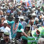 PRESIDENTGOODLUCK JONATHAN; VICE PRESIDENT NAMADISAMBO PDP NATIONAL CHAIRMAN, ALHAJI ADAMU MU'AZU AND OTHERS ACKNOWLEDGING CHEERS FROM THE CROWD