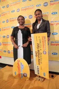 Omotola Akinsola with car winner