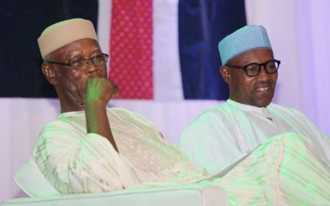 Presidential Candidate of the All Progressives Congress (APC), General Muhammadu Buhari (right) with the National Chairman, All Progressives Congress (APC), John Oyegun-Odigie (left)