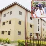 Cross view of the Co-operative Home Ownership Incentive Scheme (CHOIS) Garden Estate, Abijo GRA, Ibeju Lekki Lagos. INSET: Lagos State Governor, Mr. Babatunde Fashola, SAN (2nd right) assisting the Onitedo of Itedo, HRM Oba Tajudeen Elemoro (2nd left) and Onibedo of Orimedu Ibeju Lekki, Oba Amusa Atiku (left) to unveil the plaque while thePresident of CHOIS, General Patrick Manoel Olatunde Reis (middle) and the Executive Secretary, Ibeju Lekki, Hon. Dapo Salami (right) watch.