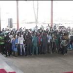 Lagos State Governor, Babatunde  Fashola, SAN (right) addressing Artisans, Tradesmen and women