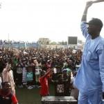 Lagos State Governor, Mr. Babatunde Fashola, SAN (right), addressing party faithful