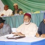President Goodluck Jonathan Chairman Abuja Peace Accord Gen Abdulsalami Abubakar and Gen Buhari Signing the Renewal of Pledges to a Peaceful Election