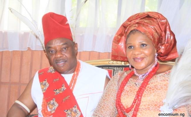 IKENGA ICHI & CHAIRMAN OF EKULO GROUP, CHIEF (SIR) EMMA BISHOP  OKONKWO, OFR  & HIS WIFE, CHIEF (MRS) NGOZI OKONKWO, MMILI AKU OF ICHI