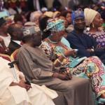 Lagos State Governor, Mr. Babatunde Fashola SAN (2nd right), the celebrant and National Leader, All Progressives Congress (APC), Asiwaju Bola Ahmed Tinubu (2nd left), his wife, Senator Oluremi Tinubu (middle), All Progressives Congress (APC) Chieftain, Chief Bisi Akande (left) and the First Lady of Ogun State, Mrs. Funsho Amosun (right)