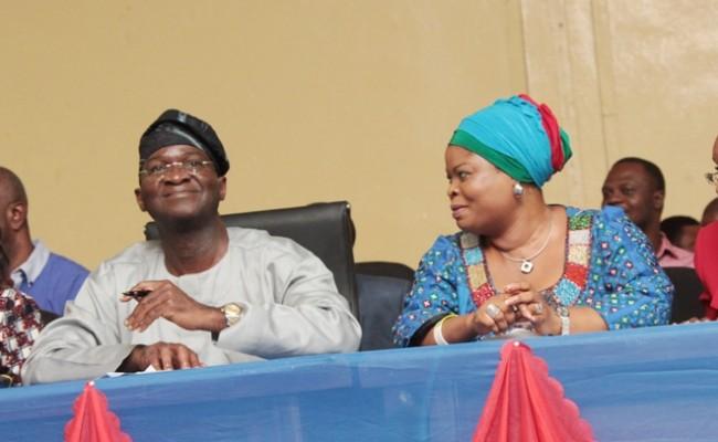 Lagos State Governor, Mr. Babatunde Fashola, SAN ( 2nd left), his Deputy, Hon. (Mrs.) Adejoke Orelope-Adefulire (2nd right), Head of Service, Mrs. Folashade Jaji (right) and the Commissioner for Establishments, Training and Pensions, Mrs. Florence Oguntuase (left)