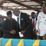 Lagos State Governor, Mr. Babatunde Fashola, SAN (3rd right), Vice-President Elect, Professor Yemi Osinbanjo (4th left), Commissioner for Education, Mrs. Olayinka Oladunjoye (3rd left), Permanent Secretary, Ministry of Education, Mrs. Omolara Erogbogbo (right), Special Adviser, Eko Project, Ms. Ronke Azeez (left), Chairman, SUBEB, Mrs. Gbolahan Dauda (2nd left) and the Chairman, Nigerian Union of Teachers (NUT), Comrade Adesegun Raheem (2nd right)