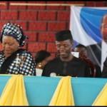Lagos State Governor, Mr. Babatunde Fashola, SAN (2nd right), Vice-President Elect, Professor Yemi Osinbanjo (3rd right), Commissioner for Education, Mrs. Olayinka Oladunjoye (3rd left), Special Adviser, Eko Project, Ms. Ronke Azeez (left), Chairman, SUBEB, Mrs. Gbolahan Daodu (2nd left) and the Chairman, Nigerian Union of Teachers (NUT), Comrade Adesegun Raheem (right)