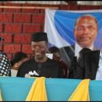 Lagos State Governor, Mr. Babatunde Fashola, SAN (2nd right), Vice-President Elect, Professor Yemi Osinbanjo (middle), Commissioner for Education, Mrs. Olayinka Oladunjoye (2nd left), Chairman, SUBEB, Mrs. Gbolahan Dauda (left) and the Chairman, Nigerian Union of Teachers (NUT), Comrade Adesegun Raheem (right)