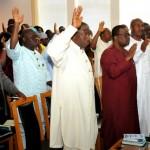 FROM LEFT: PRESIDENT GOODLUCK JONATHAN; CHIEF  OF STAFF, BRIG.GEN JONES AROGBOFA; EXECUTIVE SECRETARY NIGERIA CHRISTIAN PILGRIM COMMISSION, MR JOHNKENNEDY OPARA; FORMER MINISTER OF  HEALTH, PROF ONYEBUCHI CHUKWU AND OTHERS