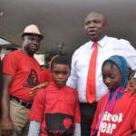 Lagos State Governor, Mr. Akinwunmi Ambode (2nd right) with members of Bring Back Our Girls Group; Miss Adidat Babalola (right), Master Iyiola Aladegoroye (middle), Mr. Niyi Olatunde Onabanjo (2nd left) and Mr. Olalere Babalola (left)