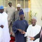 Lagos State Governor, Mr. Akinwunmi Ambode (left) looks with admiration as his Ogun State & Kebbi State counterparts, Senator Ibikunle Amosun (2nd left) and Alhaji Atiku Bagudu (2nd right) exchange pleasantries