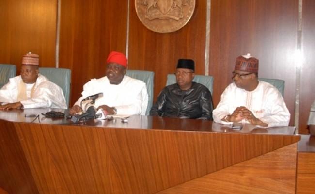 001L-R: Lagos State Governor, Mr. Akinwunmi Ambode (middle) with Sokoto, Borno, Adamawa and Yobe States Governors,  Alhaji Aminu Tambuwal, Alhaji Kashim Shettima, Senator Jibrilla Bindow and Alhaji Ibrahim Geidam