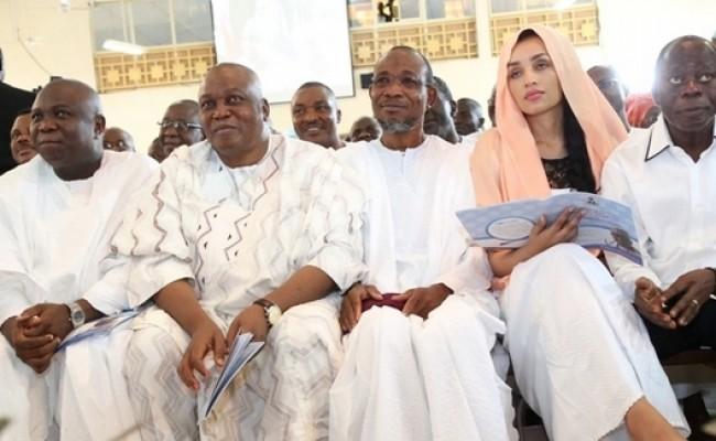 L-R: Lagos State Governor, Mr. Akinwunmi Ambode, with his Taraba, Osun  and Edo States counterparts, Arc. Darius Ishaku, Ogbeni Rauf Aregbesola, Comrade Adams Oshiomole and his wife, Lara (2nd right)