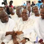 Lagos State Governor, Mr. Akinwunmi Ambode, exchanging pleasantries withGovernor of Osun State, Ogbeni Rauf Aregbesola while  their Taraba State counterpart, Arc. Darius Ishaku, watches