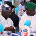 R-L: Lagos State Governor, Mr. Akinwunmi Ambode (right) discussing with his Nasarrawa Sate counterpart, Alhaji Umar Tanko Al-Makura