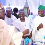 R-L: Lagos State Governor, Mr. Akinwunmi Ambode (right), with his Nasarrawa Sate counterpart, Alhaji Umar Tanko Al-Makura and former PDP Chairman, Alhaji Bamanga Tukur