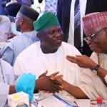 R-L: Lagos State Governor, Mr. Akinwunmi Ambode (middle), with his Nasarrawa Sate counterpart, Alhaji Umar Tanko Al-Makura and Chairman, All Progressives Congress (APC), Chief John Odigie Oyegun