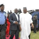 L-R: Lagos State Governor, Mr. Akinwunmi Ambode (2nd right); Commander, Rapid Response Squad (RRS), ACP Tunji Disu; Inspector General of Police, Mr. Solomon Arase and Minister for Interior, Lt.Gen. Abdulrahman Dambazua, rtd.