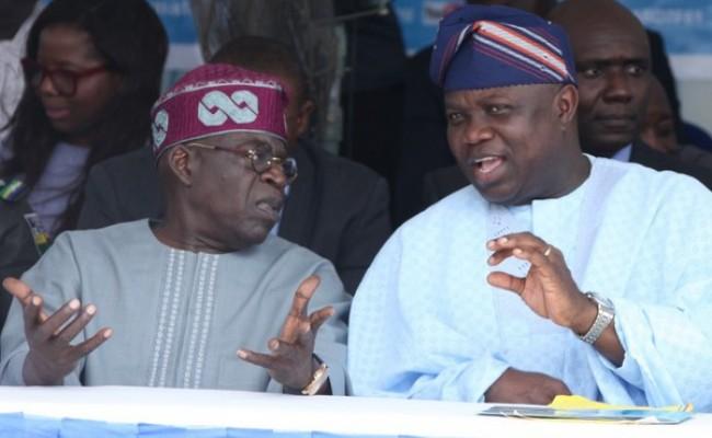 Lagos State Governor, Mr. Akinwunmi Ambode (right)  with APC National Leader, Asiwaju Bola Tinubu (left)