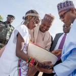 Buhari being welcomed by Kebbi State Governor H.E. Sen. Atiku Abubakar Bagudu