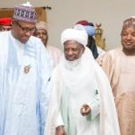 : President Buhari with Emir of Gwandu HRH Alhaji Muhammadu Iliyasu Bashar and Kebbi State Governor H.E. Sen. Atiku Abubakar Bagudu