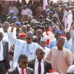 President Buhari flanked by Kebbi State Governor H.E. Sen. Atiku Abubakar Bagudu and Zamfara state Governor H.E. Abdulaziz Yari Abubakar