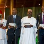L-R Chris Ngige, Udoma Udo Udoma, Muhammed Bello and Okechukwu Enalemah