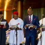 L-R  Osagie Ehanire,  Ogbonnaya Onu, Emmanuel Ibe Kachikwu and Usam U. Usam