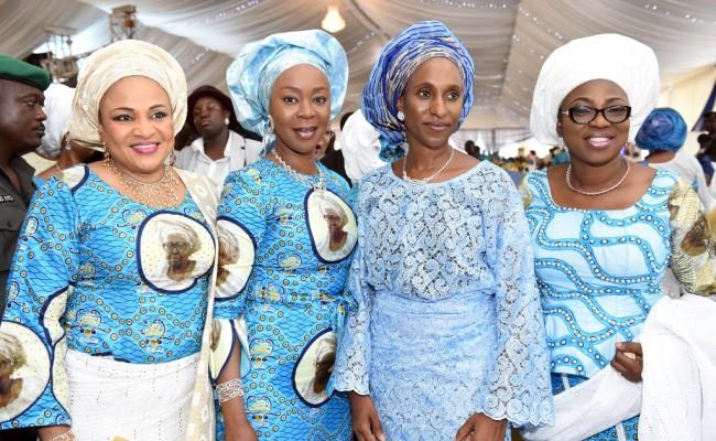 R-L: Wife of Lagos State Governor, Mrs. Bolanle Ambode; Wife of the Vice President, Mrs. Dolapo Osinbajo; Senate President's Wife, Mrs. Toyin Saraki and Wife of Oyo State Governor, Mrs. Florence Ajimobi