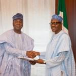 President Buhari receiving the official report of the Screening of Ministerial Nominees from Senate President Bukola Saraki
