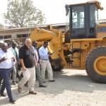 R-L: Lagos State Governor, Mr. Akinwunmi Ambode (2nd left), with Executive Secretary, Oshodi Local Government Area, Hon. Adeola Olajobi Dawood (left), Site Supervisor, Lobrics Construction Company, Mr. Baha Zidan (3rd left)