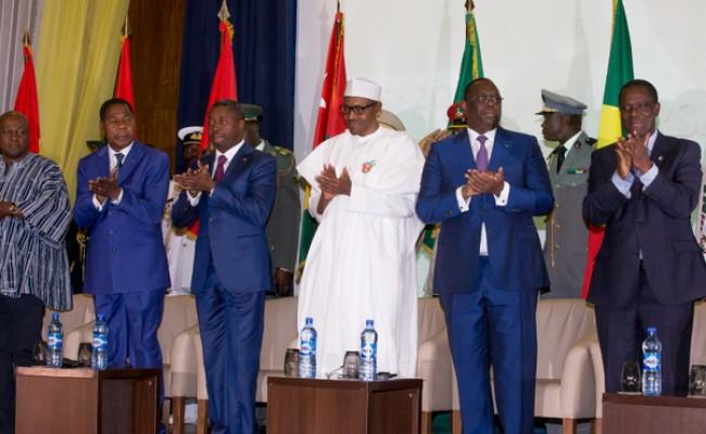 President Buhari (middle) with R-L Transitional President, Burkina Faso H.E. Michael Kafando, President of Senegal H.E. Macky Sall, President of Republic of Togo H.E. Faure Essozinma Gnassingbe, President of Republic of Benin H.E. Boni Yayi and President of Ghana H.E. John Dramani Mahama