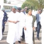 L-R: Lagos State Governor, Mr. Akinwunmi Ambode; Osun State Governor, Ogbeni Rauf Aregbesola; his wife, Alhaja Sherifat and Senator Babafemi Ojodu