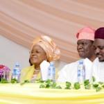 L-R: Wife of Lagos State Governor, Mrs. Bolanle Ambode; President, Fatima Charity Foundation, Alhaja Bintu-Fatima Tinubu;Alhaji Lookman Olanrewaju Animashaun and Commissioner for Home Affairs, Dr. AbdulHakeem AbdulLateef