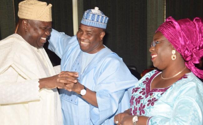 L-R: Lagos State Governor, Mr. Akinwunmi Ambode, with Sokoto State Governor,  Alhaji Aminu Tambuwal  and  Ogun State  Deputy  Governor,  Mrs. Yetunde Onanuga.