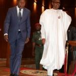 PRESIDENT BUHARI RECEIVES PRESIDENT BONI YAYI 1. President Muhammadu Buhari receives The President Republic of Benin, Mr Boni Yayi on arrival at the Presidential villa in Abuja. PHOTO; SUNDAY AGHAEZE. JAN 14 2016.