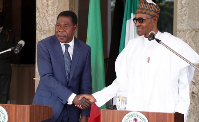 PRESIDENT BUHARI RECEIVES PRESIDENT BONI YAYI. 3B R-L;  President Muhammadu Buhari and The President Republic of Benin, Mr Boni Yayi