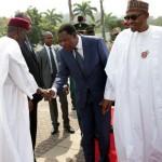PRESIDENT BUHARI RECEIVES PRESIDENT BONI YAYI. 9 R-L;  President Muhammadu Buhari, The President Republic of Benin, Mr Boni Yayi in a hand shake with Chief of Staff, Alhaji Abba Kyari on arrival at the Presidential villa